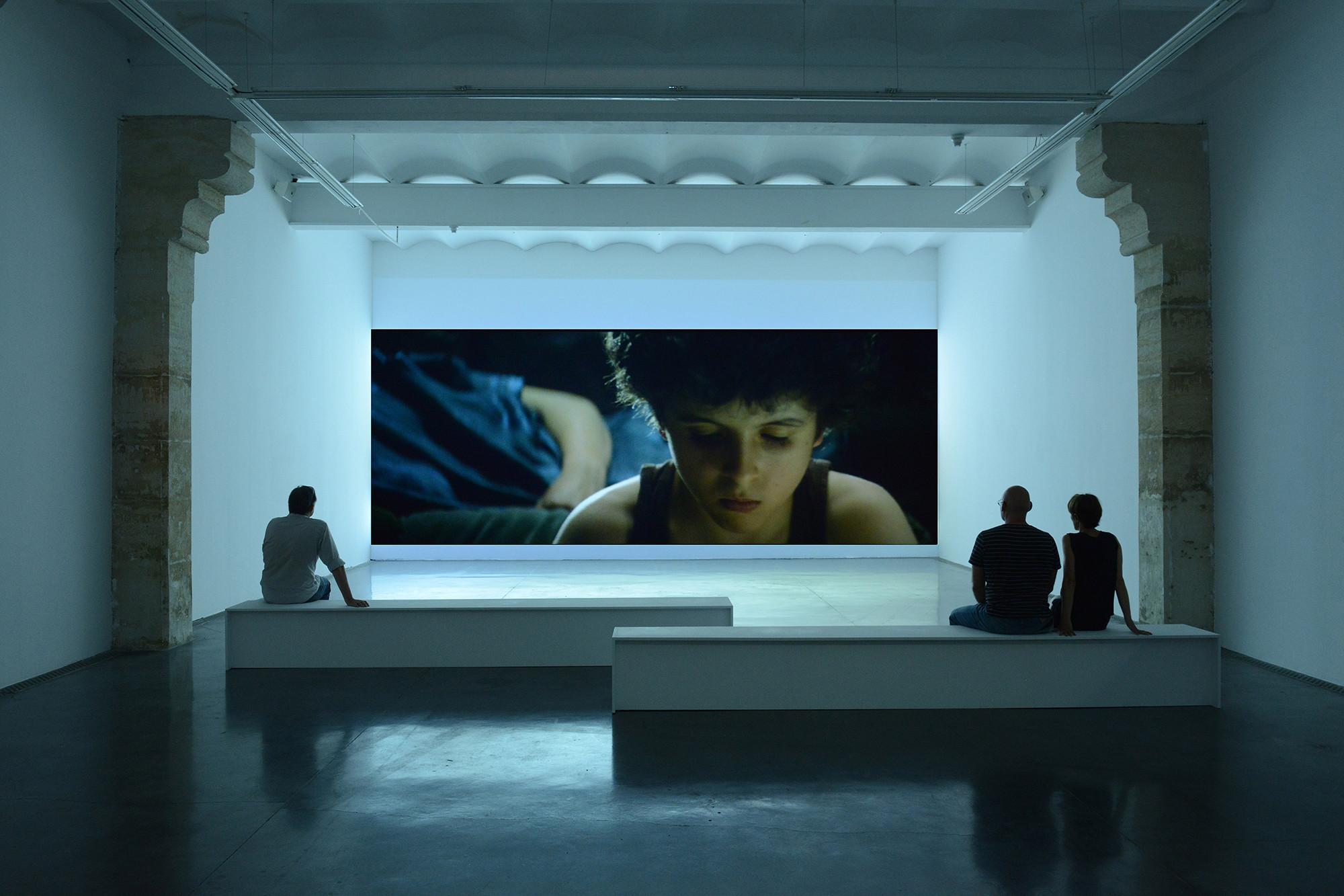 « Maïder Fortuné - Carrousel », vue de l'exposition au Frac Languedoc-Roussillon, Montpellier, 11/07 – 19/09/2015. Carrousel, 2010, vidéo, 12 min. Collection Frac Languedoc-Roussillon. Photo Pierre Schwartz