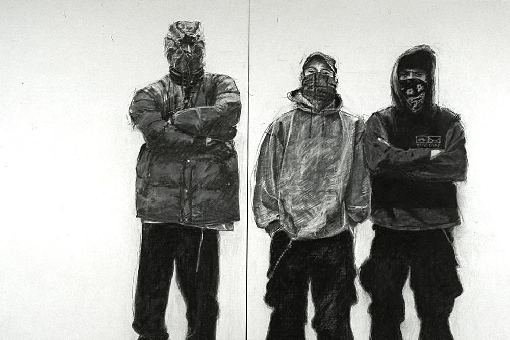 Belkacem Boudjellouli, « Sans titre », 1997, diptyque, fusain et acrylique sur toile, 200 x 240 cm. Collection Frac Languedoc-Roussillon. Photo Jean-Luc Fournier. © B. Boudjellouli